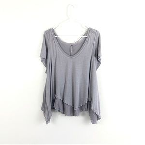 Free People Gray Layered Flowy Scoop Neck Tee